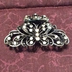 Accessories - Black, silver and fake diamond hair clip, claw, 2""